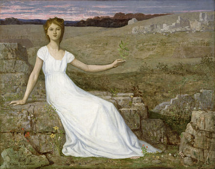 In this painting by Pierre Puvis de Chavannes a woman holds up an oak twig as a symbol of hope for the nation's recovery from war and deprivation after the Franco-Prussian War. The Walters Art Museum. Pierre Puvis de Chavannes - Hope - Walters 37156.jpg