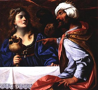 Rosamund (wife of Alboin) - Rosamund forced to drink from the skull of her father by Pietro della Vecchia