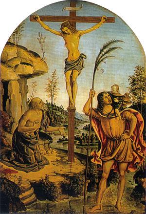Crucifixion between Sts. Jerome and Christopher - Image: Pinturicchio, crocifissione con san girolamo e san cristoforo
