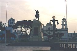Plaza de Armas in 2001. Church was destroyed in the 2007 earthquake