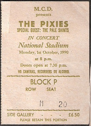 Pixies - Pixies ticket from 1st October, 1990