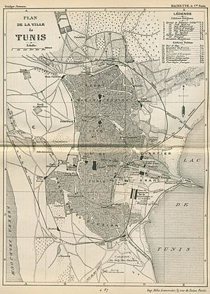 Timeline of Tunis - Map of Tunis, 1888