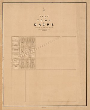 Dacre, New Zealand - Image: Plan of the town of Dacre, province of Southland, N.Z 1863