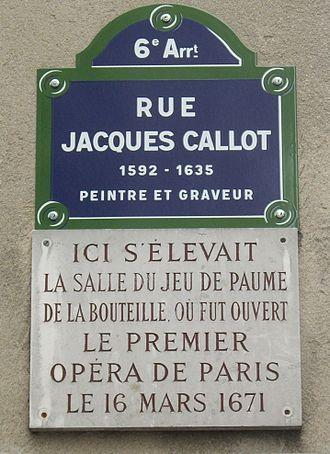 Salle de la Bouteille - Image: Plaque Jeu de paume de la Bouteille, Rue Jacques Callot, Paris 6
