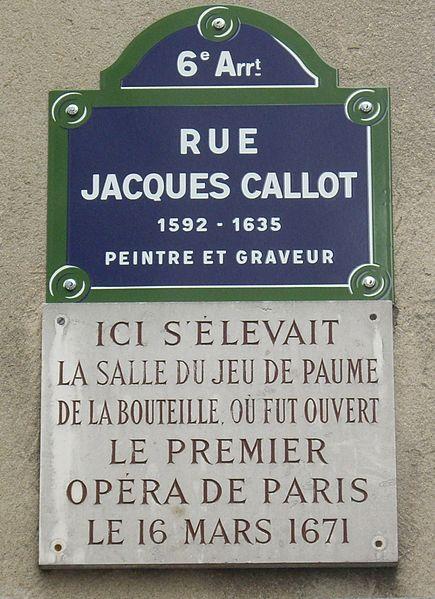 Fichier:Plaque Jeu de paume de la Bouteille, Rue Jacques-Callot, Paris 6.jpg