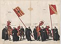 Plate 33- Men with heraldic flags and horses from Mechelen and Salins marching in the funeral procession of Archduke Albert of Austria; from 'Pompa Funebris ... Alberti Pii' MET DP874771.jpg