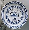 Plate commemorating Queen Anne, Bristol, England, 1702-1714, tin-glazed earthenware, item HD 91.159 - Flynt Center of Early New England Life - Deerfield, Massachusetts - DSC04303.jpg