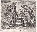 Pltae 70- Procris Giving Cephalus a Dog and a Javelin (Cephalus et iaculo inevitabili, et cane pernicißimo a Procride donatur), from Ovid's 'Metamorphoses' MET DP866517.jpg