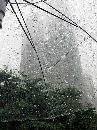 East Asian rainy season - Plum rain 梅雨 falling on two clear umbrellas, looking up toward the Tokyo Metropolitan Government Building, in June 2009.