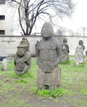 Dnipro - Kipchak statues near the Historical Museum, Akademik Yavornytsky Avenue