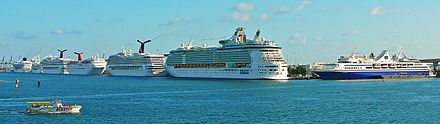 PortMiami is the world's largest cruise ship port, and is the headquarters of many of the world's largest cruise companies Port of Miami 20071208.jpg