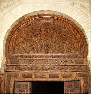 Wood carving - Finely carved wooden door in the Great Mosque of Kairouan, Tunisia.