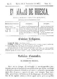 Portada del primer número de El Diario de Huesca, 16 de noviembre de 1875.jpg