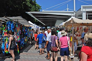 Portland Saturday Market - Shoppers and vendor stalls at Saturday Market in 2012