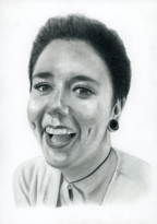 Hand-drawn portrait of a Caucasian women's face. She is smiling and facing the viewer.