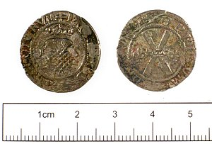 Billon (alloy) - Billon bawbee coin of James V of Scotland.