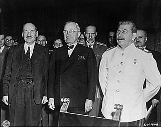 Timeline of World War II (1945–1991) - Clement Attlee, Harry S. Truman and Joseph Stalin at the 1945 Potsdam Conference.