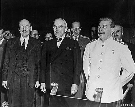 Clement Attlee, Harry S. Truman and Joseph Stalin at the 1945 Potsdam Conference. Potsdam big three.jpg
