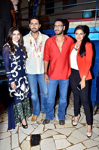 Bol Bachchan - (from left to right) Prachi Desai, Abhishek Bachchan, Ajay Devgn and Asin at the release of Bol Bachchan
