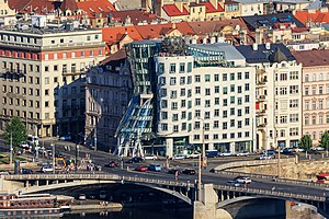 New Town, Prague - Jiraskovo namesti with the Dancing House is on the bank of the Vltava River