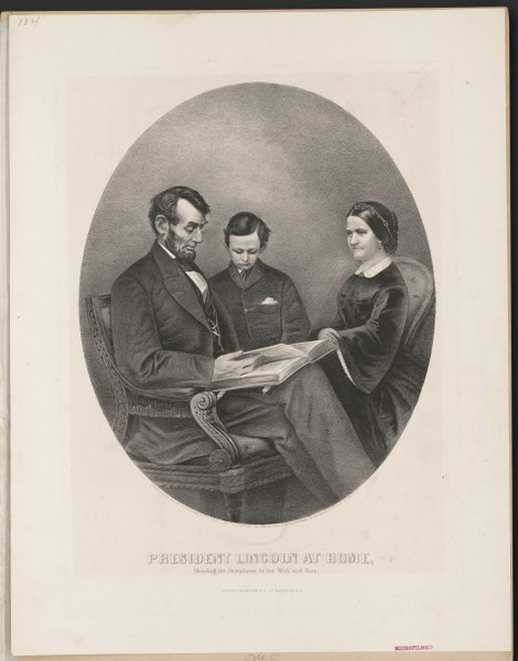 File:President Lincoln at home- reading the scriptures to his wife and son LCCN2001702378.tif