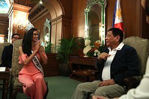 Miss Universe 2016 - Miss Universe 2015 Pia Wurtzbach on a courtesy call with Philippine President Rodrigo Duterte.