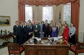 Lyn Nofziger - President Ronald Reagan Farewell Photo Opportunity with Nofziger and Members of His Staff Including Lee Atwater and Ed Rollins in the Oval Office in 1982