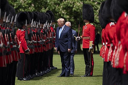 Donald Trump and the Prince of Wales inspect the 1st Battalion, Grenadier Guards in the Garden at Buckingham Palace, June 2019. President Trump and First Lady Melania Trump's Trip to the United Kingdom (47995680802).jpg