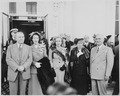 President and Mrs. Harry S. Truman, Alben W. Barkley, Mrs. Max Truitt, and Margaret Truman posing together, with... - NARA - 199939.tif