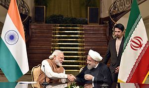 India–Iran relations - Prime Minister of India, Narendra Modi with President of Iran, Hassan Rouhani(seated right).