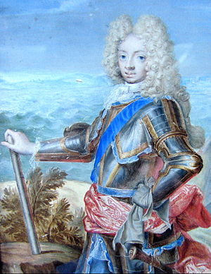 Prince Charles of Denmark - Portrait of Prince Charles by Georg Saleman, copied after a portrait by Hyacinthe Rigaud.