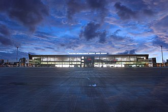"The Pristina International Airport (PRN) handles more than 2.1 million passengers per year. Prishtina International Airport ""Adem Jashari"" Limak Kosovo.jpg"