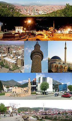 Top row: PrizrenSecond row: Albanian League of Prizren Museum, Old Stone Bridge, PrizrenThird row: Our Lady of Ljeviš, Minaret of Arasta Mosque, Sinan Pasha MosqueForth row: Namazgâh, Municipality BuildingBottom row: Prizrenska Bistrica