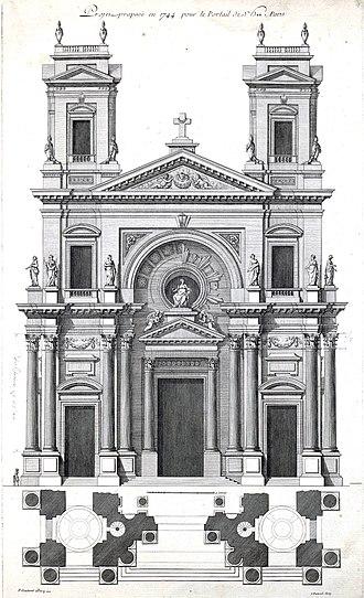 Pierre Contant d'Ivry - Image: Projet proposé en 1744 pour le Portail de St E** à Paris Contant d'Ivry 1769 pl 6 INHA 2004 (adjusted)