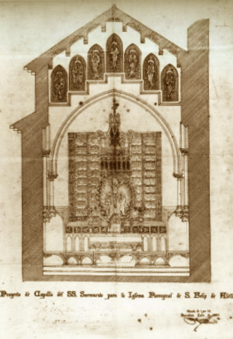 Altarpiece of Alella - The project for the altarpiece of the Crucifixion for the Chapel of the Holy Sacrament for the Parochial Church of Sant Feliu (Saint Felix) of Alella, conserved in the Parish File, designed and signed by Antoni Gaudí.