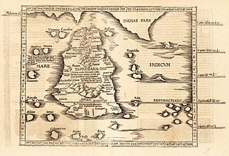 Sri Lanka - Ptolemy's world map of Ceylon, first century AD, in a 1535 publication