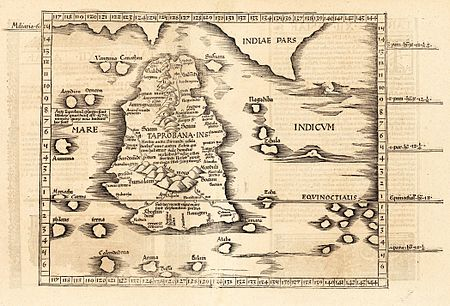 Ptolemy's world map of Ceylon, first century CE, in a 1535 publication Ptolemy's Taprobana.jpg