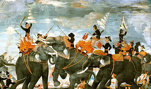 Burmese–Siamese War (1547–49) - Painting by Prince Narisara Nuvadtivongs, depicting Queen Suriyothai (center) on her elephant putting herself between King Maha Chakkraphat (right) and the Viceroy of Prome (left).