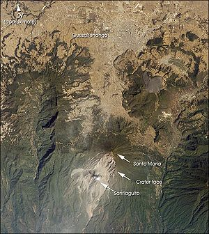 Quetzaltenango - Satellite photo showing Quetzaltenango and Santa Maria volcano
