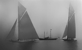 1920 America's Cup - Resolute leading Vanitie at start of first elimination race off New Haven 1920.