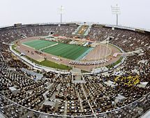 A crowded stadium during the opening ceremony of the 1980 Summer Olympics