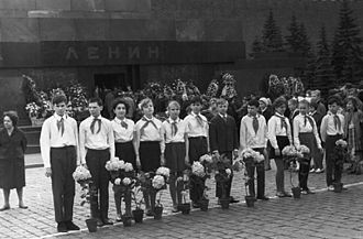 Lenin's Mausoleum - Young Pioneers at Vladimir Lenin's Mausoleum, 1968.