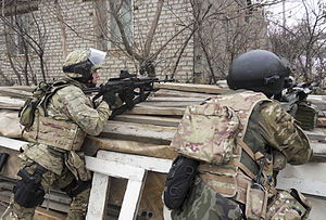 Insurgency in the North Caucasus - FSB Spetsnaz members during an anti-terrorist operation in Makhachkala, Dagestan.