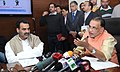 Radha Mohan Singh holding a press conference to brief about future plans, programs and achievements of his ministry, in New Delhi. The Minister of State for Agriculture and Farmers Welfare.jpg
