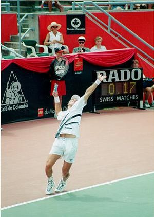 Pat Rafter - Pat Rafter playing for the Australia Davis Cup team in 2001.