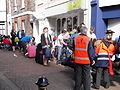 Red Funnel staff in Cowes High Street after Bestival 2011.JPG