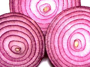 Red onion slices