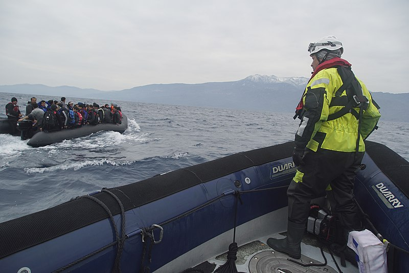 File:Refugees crossing the Mediterranean sea on a boat, heading from Turkish coast to the northeastern Greek island of Lesbos, 29 January 2016.jpg