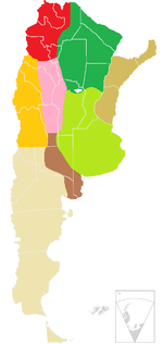 Map showing the different geographic regions of Argentina