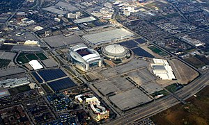 NRG Park - NRG Park complex. NRG Stadium is at center left; the Astrodome at center right; NRG Arena at lower right; NRG Center at top right; and training center at left.